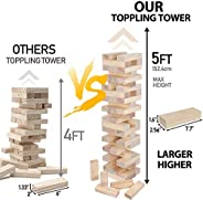 Nova Microdermabrasion 54 Pieces Giant Toppling Tumble Tower Blocks Game (2.5 ft to Over 5 ft) Wood Stacking G