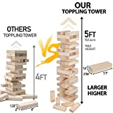 Nova Microdermabrasion 54 Pieces Giant Toppling Tumble Tower Blocks Game (2.5 ft to Over 5 ft) Wood Stacking Game Tumbling Timbers Outdoor Yard Game, Carry Bag