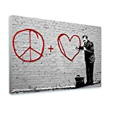 Alonline Art - Peace Love Doctor by Banksy | framed stretched canvas on a ready to hang frame - 100% cotton - gallery wrapped | 41''x27'' - 103x69cm | Wall art home decor for toilet or for toilet |