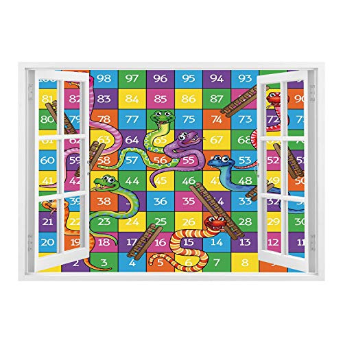 (SCOCICI 3D Depth Illusion Vinyl Wall Decal Sticker/Board Game,Cute Snakes Smiling Faces Numbers in Squares Ladders Childrens Kids Play Print,Multicolor/Wall Sticker Mural)