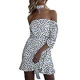 Keliay Bargain Women Fashion Plus Size Dot V-Neck Bandage Short Sleeve Camis Loose Dress