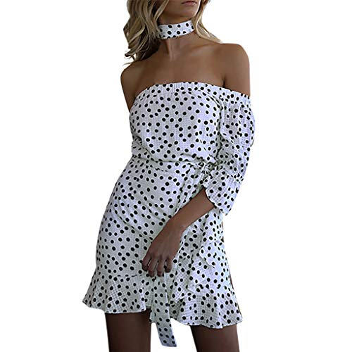 Woman Vintage Hawaiian Art - Spring Off Shoulder Women Plus Size Polka Dot Bandage Short Sleeve Loose Mini Dress,Best Gift for Valentine's Day