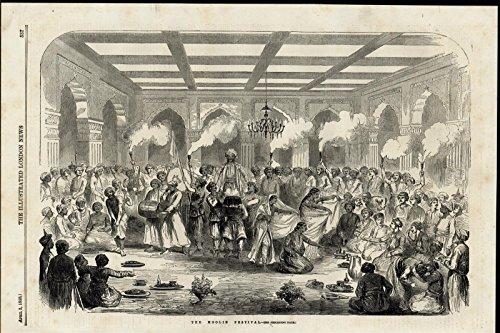 Hoolie Festival Dancing Celebration Costume nice 1858 great antique Travel print]()