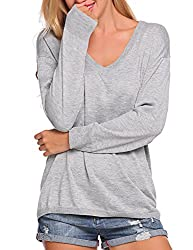 Soteer Womens V Neck Pullover Sweater Long Sleeve Loose Fit Knit Winter Blouse Tops Grey Xx Large