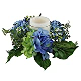 Select Artificials Decorative Artificial Hydrangea and Berry Hurricane Glass Candle Holder, 16'', Blue/Green