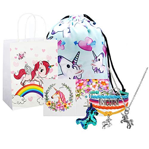 Unicorn Gifts for Girls, Unicorn Goodie Bags, Unicorn Backpack, Necklace Bracelet Keychain Backpack Gift Card Set (Blue)]()
