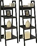 Ameriwood Home Lawrence 4 Shelf Ladder Bookcase Bundle (Black)