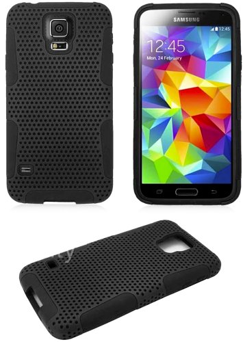myLife Soft Charcoal Black - Perforated Mesh Series (2 Layer Neo Hybrid) Slim Armor Case for the NEW Galaxy S5 (5G) Smartphone by Samsung (External Rubberized Hard Shell Mesh Piece + Internal Soft Silicone Flexible Gel)