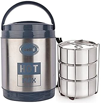 CELLO HOT MAX 3 STAINLESS STEEL LUNCH BOX 3 CONTAINERS WARM FOOD BEST  QUALITY LUNCH