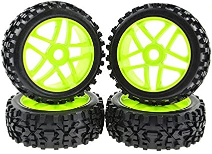 4Pcs RC Car 1//8 Rubber Tires Tyre and 17mm Hubs Wheel Rims for RC 1//8 Buggy Tire