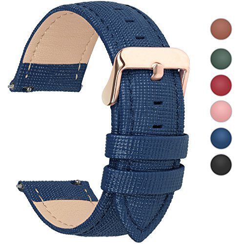 Fullmosa 6 Colors for Quick Release Leather Watch Band, Cross Genuine Leather Replacement Watch Strap with Stainless Metal Clasp 24mm Dark Blue