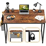 """CubiCubi Computer Desk 40"""" Study Writing Table for Home Office, Industrial Simple Style PC Desk, Black Metal Frame, Rustic"""