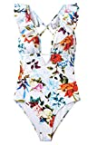 CUPSHE Women's Falbala One Piece Swimsuit Deep V Neck Monokini Swimsuit, Floral Print, Small