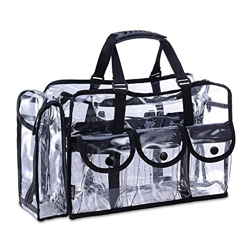 KIOTA Makeup Artist Storage Bag, Clear Cosmetic Bag with Side Pockets and Shoulder Strap, Ergonomic Handle, ON THE GO Series - Black Trim