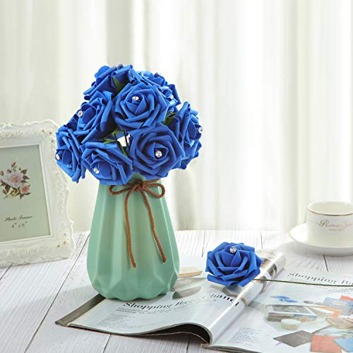 DerBlue 60pcs Artificial Diamond Roses Flowers Real Looking Fake Roses Artificial Foam Roses Decoration DIY for Wedding Bouquets Centerpieces,Arrangements Party Baby Shower Home Decorations