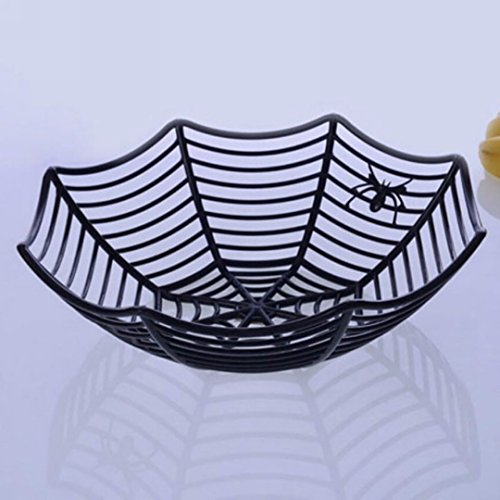 NPLE--Halloween Candy Fruits Basket Spider Web Bowl Spider Web Party Decor (History Halloween Lesson)