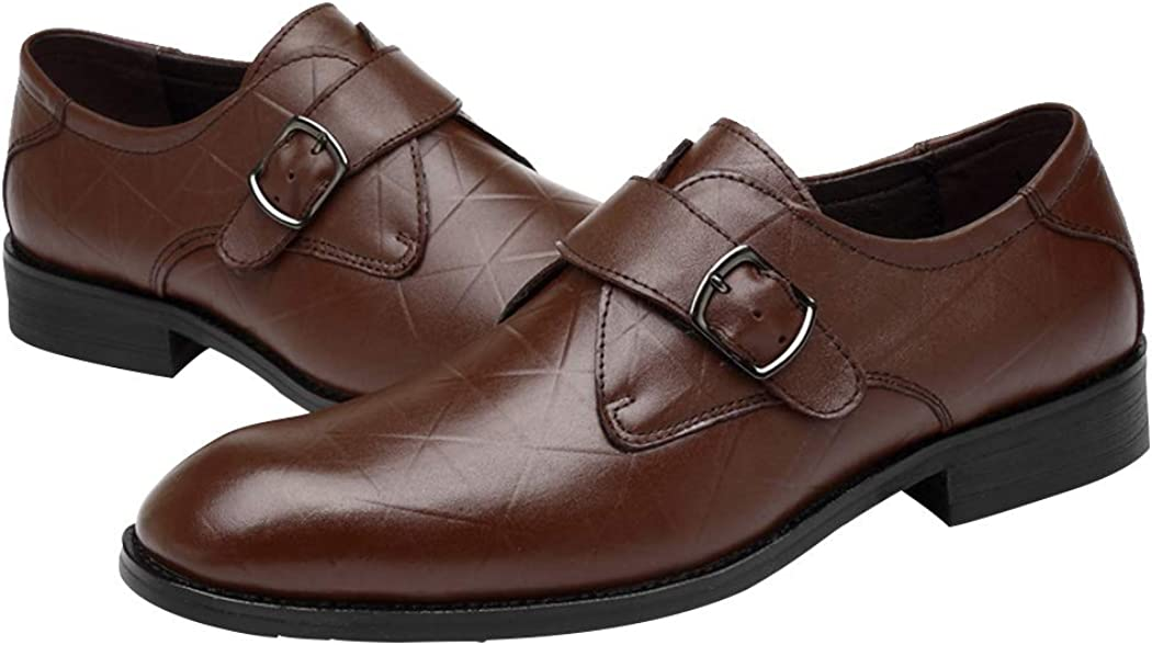 Snowman Lee Mens Single Monk Strap Slip On Buckle Loafers Classic Formal Oxford Wedding Shoes