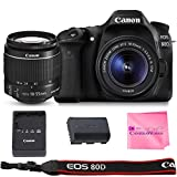 Canon EOS 80D SLR Digital Camera Value Bundle (80D Body + Canon EF-S 18-55mm f3.5-5.6 IS II Lens + Camera Works Microfiber Cloth)