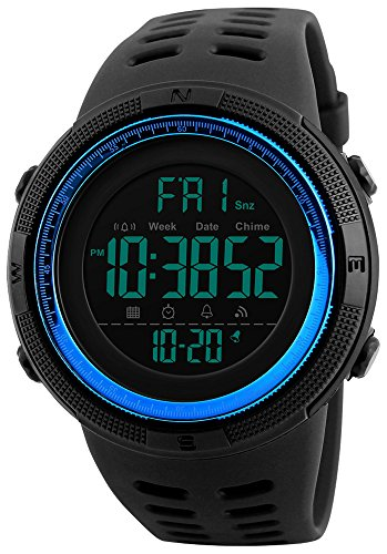 Fanmis Mens Digital LED Sports Watch Military Multifunction 12H/24H Time Dual Time Alarm Countdown Back Light with Simple Design 164FT 50M Water Resistant Calendar Month Date Day Watch (Black Blue) (Blue Round Watch Face)