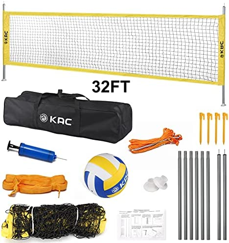 KAC Portable Volleyball Sets, Outdoor Volleyball Net System for Outdoor Beach Backyard, FIVB Nets Standard with Height Adjustable Aluminum Poles