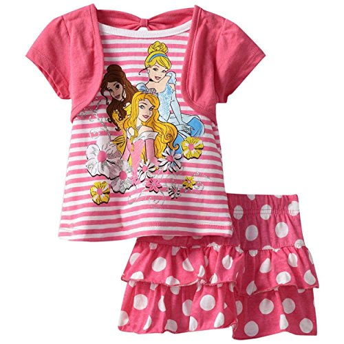 [Disney Little Girls' Princess 2 Piece Pullover Knit And Knit Divided Skirt, Pink, 2T] (Frozen Outfit For Toddlers)