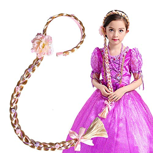Vndaxau Girl's Princess Wig Braided,Kid's Rapunzel Hair Dress up Hairpiece -