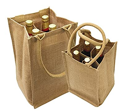 "Jute Burlap 4 Bottle Wine Tote with cotton webbed with divider size 8""W x 14""H x 8""Gusset- CarryGreen Bag"
