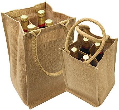 celebraci/ón de cumplea/ños y cata de vino ciego 2 piezas, marr/ón Bolsas de regalo de vino de boda 30 x 16 1//4 pulgadas de yute bolsas de botella con cord/ón para boda despedida de novia
