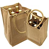 """Jute Burlap 4 Bottle Wine Tote with cotton webbed with divider size 8""""W x 14""""H x 8""""Gusset- CarryGreen Bag"""