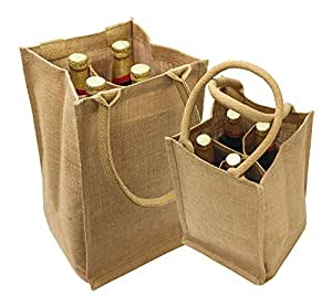 "Jute Burlap 4 Bottle Wine Tote with cotton webbed with divider size 8""W x 14""H x 8""Gusset - Holiday Gift Bag Sale"
