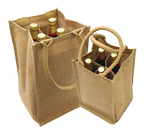 Four Jute - Jute Burlap 4 Bottle Wine Tote with cotton webbed with divider size 8