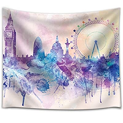 Crafted to Perfection, Fascinating Creative Design, Hues of Purples and Pinks Splattered Paint on The City of London with The Big Ben and The London Eye