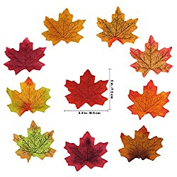 "Supla 500 Pcs 10 Colors Assorted Fake Silk Autumn Maple Leaves Bulk Artificial Fall Leaf Foliage 3.15"" L X 3.15"" W Thanksgiving Table Door Fall Wedding Party Birthday Baby Shower Decorations"