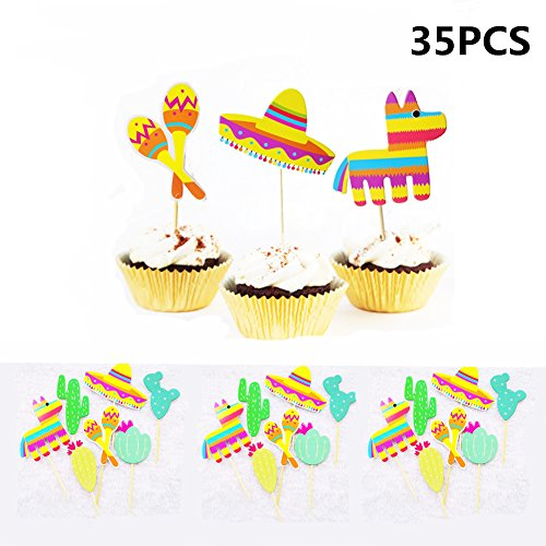 Mexican Fiesta Party Striped Decorative Cupcake Topper - Set of 35 by MZYARD