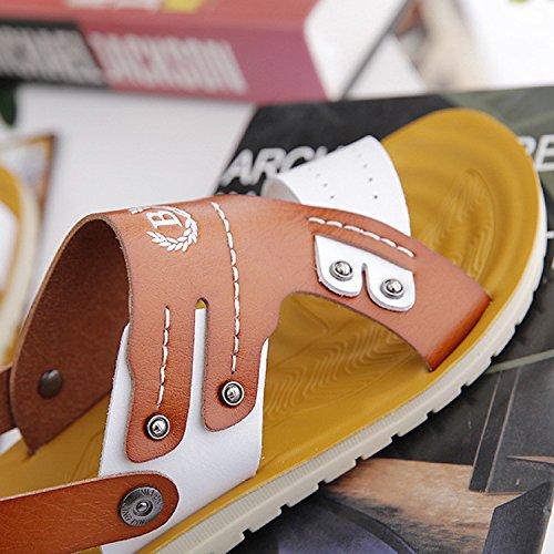 I sandali di estate dei nuovi sandali vendono i sandali della pelle morbida del microfibra dei pattini di spiaggia di ricreazione delle scarpe da spiaggia, Brown, UK = 9, EU = 43 1/3