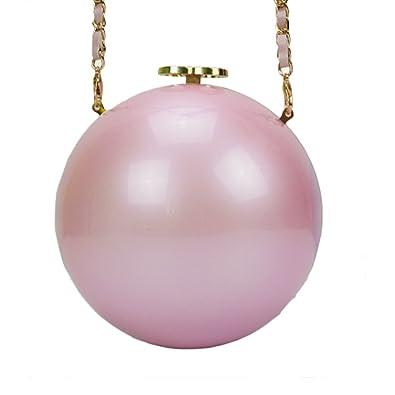 QZUnique Women s Acrylic Mini Round Ball Shape Purse Evening Bag Clutch Handbag  Pink  Handbags  Amazon.com