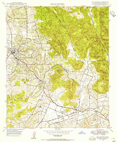 YellowMaps San Marcos CA topo map, 1:24000 Scale, 7.5 X 7.5 Minute, Historical, 1948, Updated 1955, 26.7 x 21.9 in - Paper -