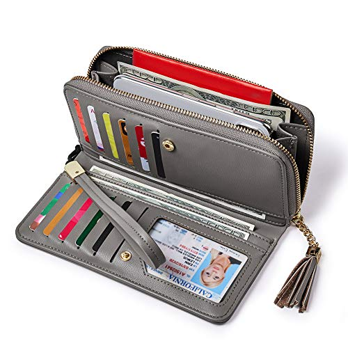 (Women Wallets PU Leather Zip Around Bifold Ladies Clutch Purse Checkbook Credit Card Holder Gray)