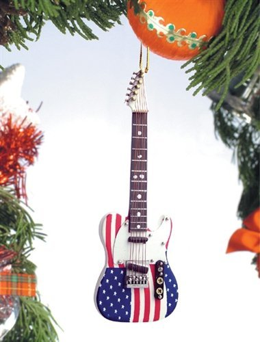 US Flag Electric Guitar Music Instrument Replica Christmas Ornament, Size 5 inch ()