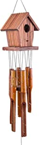 WOODMUSIC Wind Chime, 35'' Bamboo Wooden Birdhouse Wind Chimes for Ourdoor & Indoor,Garden, Yark,Patio and Home Décor