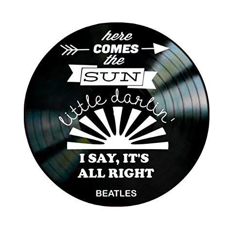 Beatles Here Comes the Sun song Lyrics on a Vinyl Record Album Wall Art by VinylRevamped