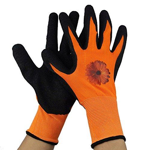Orange Gardening Gloves - PROMEDIX Gardening Gloves, Nitrile Coated Gloves, Garden/Work Gloves for Women or Men,4 Size (L, Orange)