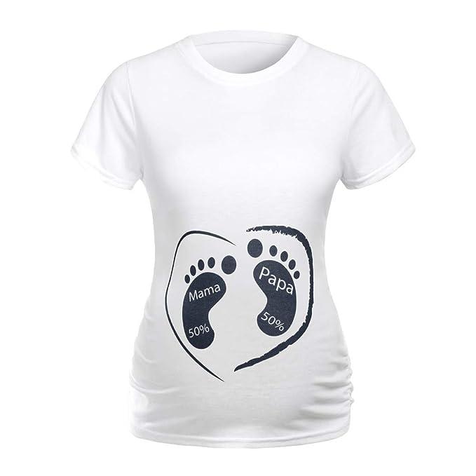 Lenfesh Damen T-Shirt Top Oberteil Schwangere Kurzarm Umstands Tshirt Umstandstop Umstandsmode Baumwolle Schwangerschaft Shirt