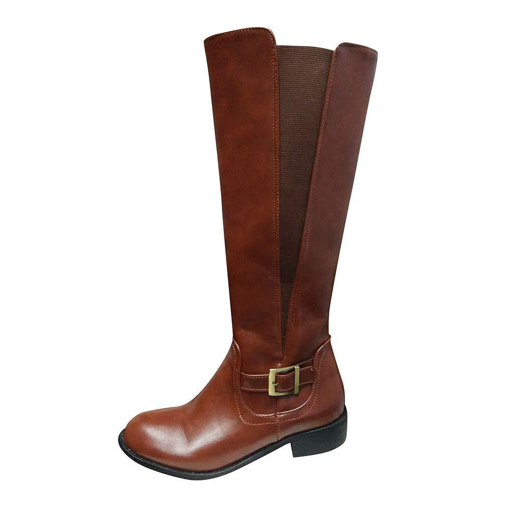 Dasuy Women Knee High Riding Boots Wide Calf Waterproof Warm Snow Boots Squared Heel Buckle Western Combat Booties (US:10.5, Brown) by Dasuy