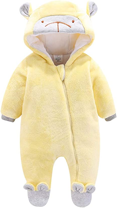 New Baby Boys size 0-3 Months Brown Bear Pram Microfleece Faux Fur Hood Suit