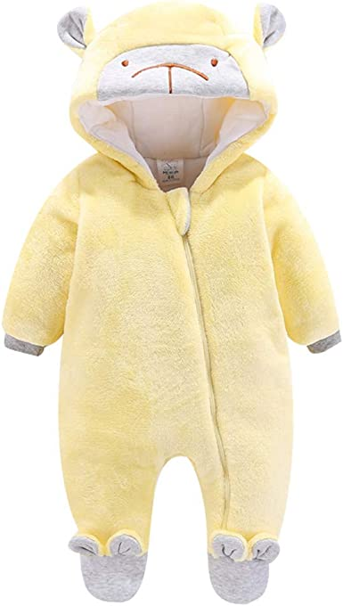 Newborn Baby Boys Girls Padded Onesies Infant Cartoon Ear Winter Warm Thick Star Hooded Romper Jumpsuit Outfits