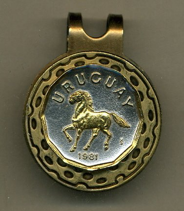 (Gorgeous 2-Toned Gold on Silver Uruguay Horse - Coin - Golf Ball Marker - Hat Clips)