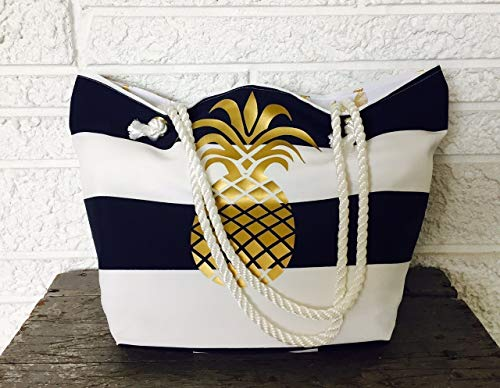 Gold Pineapple Bag, Navy & White Cabana Striped Beach, Pool or Book Tote - Luxury Resortwear by Beachdweller Boutique
