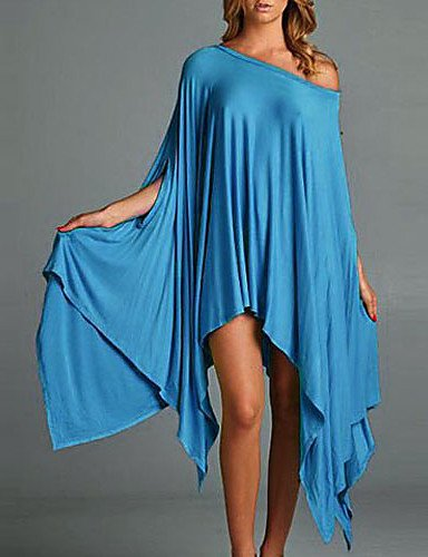 PU&PU Robe Aux femmes Ouvert Midi ½ Manches Col Asymétrique Spandex / Polyester , pink-l , pink-l
