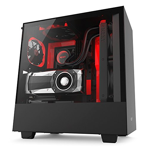 NZXT H500i – Compact ATX Mid-Tower PC Gaming Case – RGB Lighting and Fan Control – CAM-Powered Smart Device – Tempered Glass Panel – Enhanced Cable Management System – Water-Cooling Ready – Black/Red